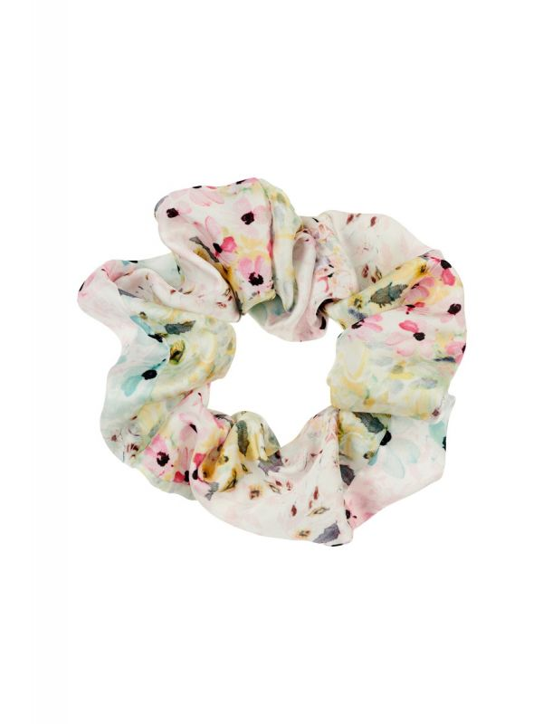 WHITE FLORAL HAIR SCRUNCHIE