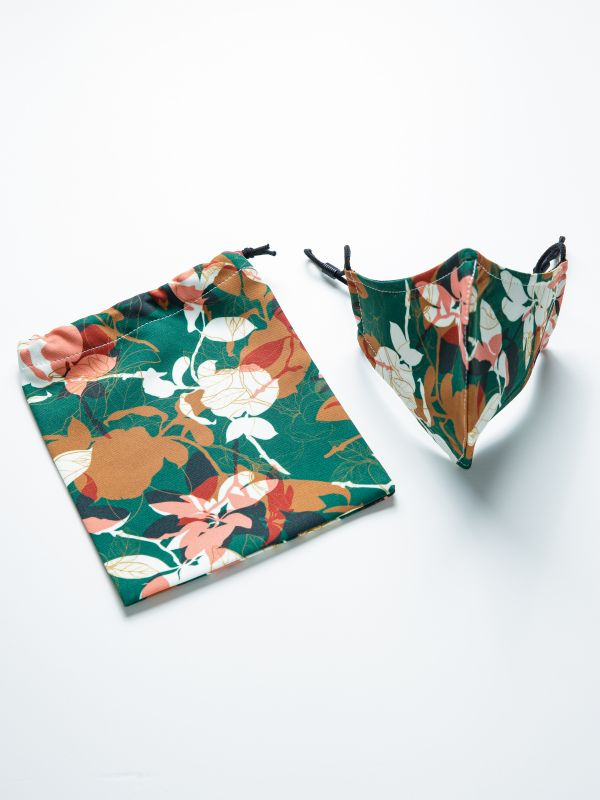 REUSABLE FACE MASK GREEN FLORAL