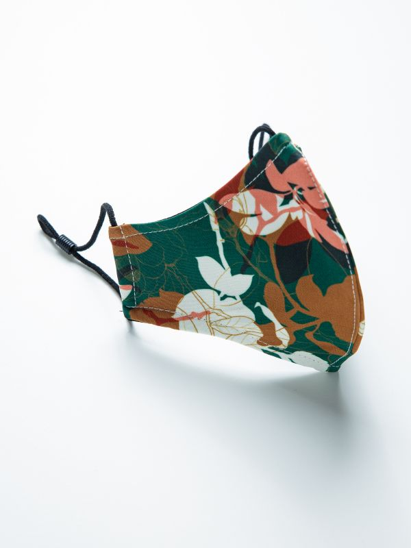 REUSABLE KIDS FACE MASK GREEN FLORAL