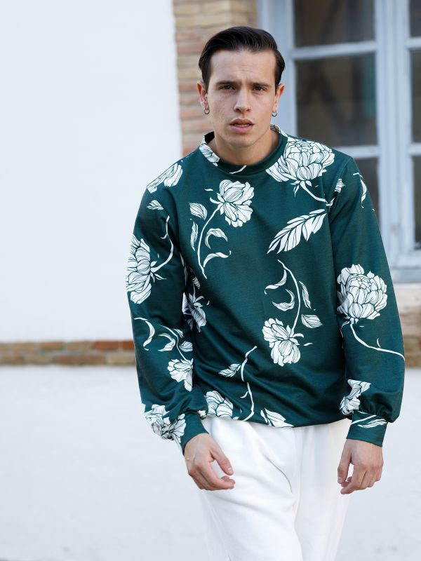 GREEN CREW NECK SWEATSHIRT