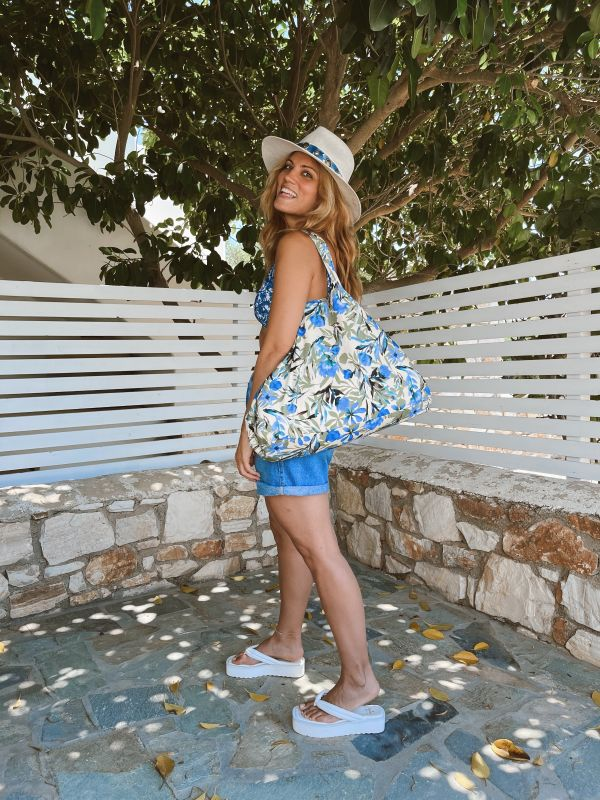 LARGE BLUE PRINTED COTTON TOTE